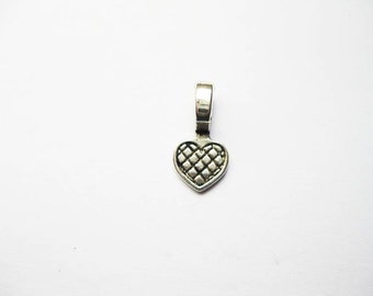 15 Heart Jewelry Making Bails or Charms in Silver Tone - C367