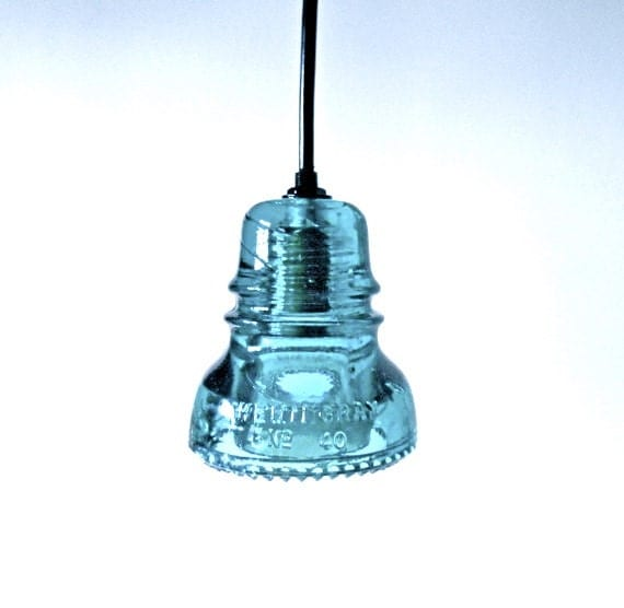 Items Similar To Antique Blue Glass Insulator Lights