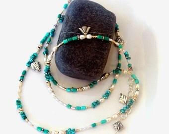 Boho multi wrap Bracelet in Pearl and Turquoise, Silver Wrap Bracelet- Ethnic Style Wrap Bracelet-Bohemian Turquoise Silver Charm Bracelet