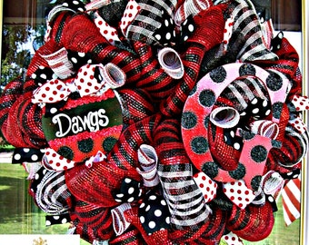 Deco Mesh Georgia Dawgs Fan Wreath