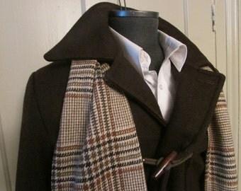 Vintage Duffle Coat Toggle Coat Dark Brown Size 40 Genuine Borg Lining Size 40