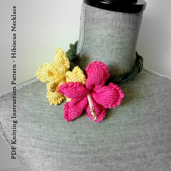 Instant Download PDF Knitting Instruction Pattern - Hibiscus Necklace