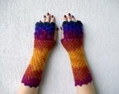 Fingerless gloves mittens Long knit gloves Boho knit glove mittens womens winter gloves Arm warmers Dragon scale gloves