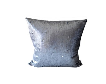 Sequin Decorative Pillow. Grey Silver Throw Pillow. Sparkle Pillow.