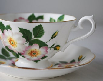 Royal Albert Teacup and Saucer, Wild Roses, Avon Shape Tea Cup