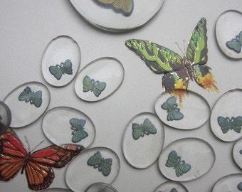 Tiny Glass Crystal Butterfly  Cabochon
