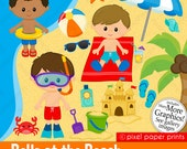 Boys at the Beach Clipart - Clip Art and Digital paper set