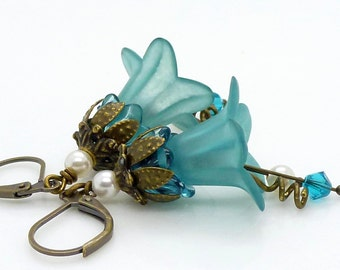 Dark teal earrings, antique bronze, pretty vintage style blue green lucite flower dangle earrings, handmade jewelry