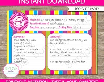 Recipe Card Invitation Template - Cooking Birthday Party - INSTANT DOWNLOAD with EDITABLE text - you personalize at home