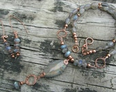 Labradorite and Copper Necklace & Earring Set Natural Stone Jewelry Semiprecious Handmade