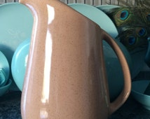 Vintage BRUSCHE PITCHER-1950s pottery Tan speckle Mid century California Pottery-collectible pottery serving ware