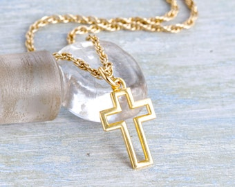 Golden minimalist Cross Necklace - Vintage Pendant on Rope Chain - Religious jewelry
