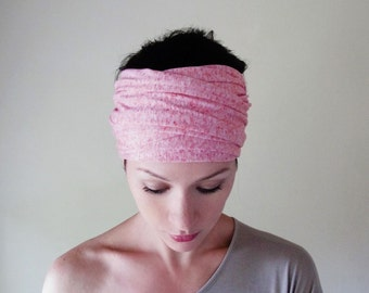 BUBBLEGUM Head Scarf - Extra Long Hair Wrap - Pink Jersey Headband - Extra Wide Yoga Hair Wrap - Womens Head Covering