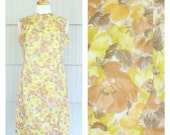 Vintage 1960's Yellow Floral Shift Sheath Mod Mini Dress M