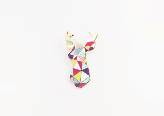 Stag Brooch Pin  Boutonniere Geometric