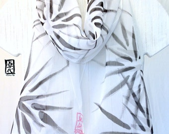 Hand Painted Black and White Silk Scarf, Japanese Hanabi Flowers Scarf, Silk Chiffon Scarf. 10x59 inches. Made to order.