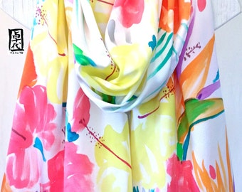 Hand Painted Large Silk Scarf, Hawaiian Rainbow Flowers. Charmeuse Silk Shawl Scarf. Multicolor Floral Scarf, Approx 22x90 inches.