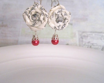 Ch.5 Vintage Paper Dangle Earrings, Discover the Fairytale, Vintage Paper Rosebud Earrings, Vintage Wedding Jewelry, Book Pages Jewelry