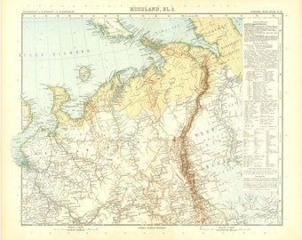 1914  Vintage Map of  European Russia,  Stieler,  North Central Russia Map