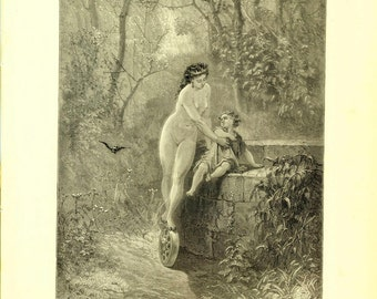 Antique Print by Gustave Dore Illustration of the Fables of La Fontaine 1885 Engraving Fortune and the Child
