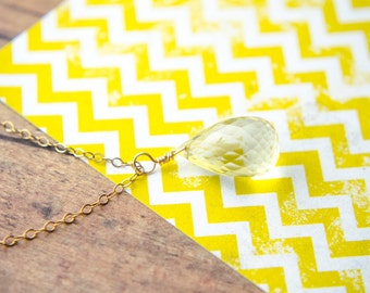 Lemon Quartz Necklace | Yellow Teardrop Necklace | Wire Wrapped Pendulum