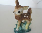 Vintage Figurine - Bambi/Deer/Doe/Fawn - Porcelain - 1950's  - Retro Shelf Decor -  Sugar Textured
