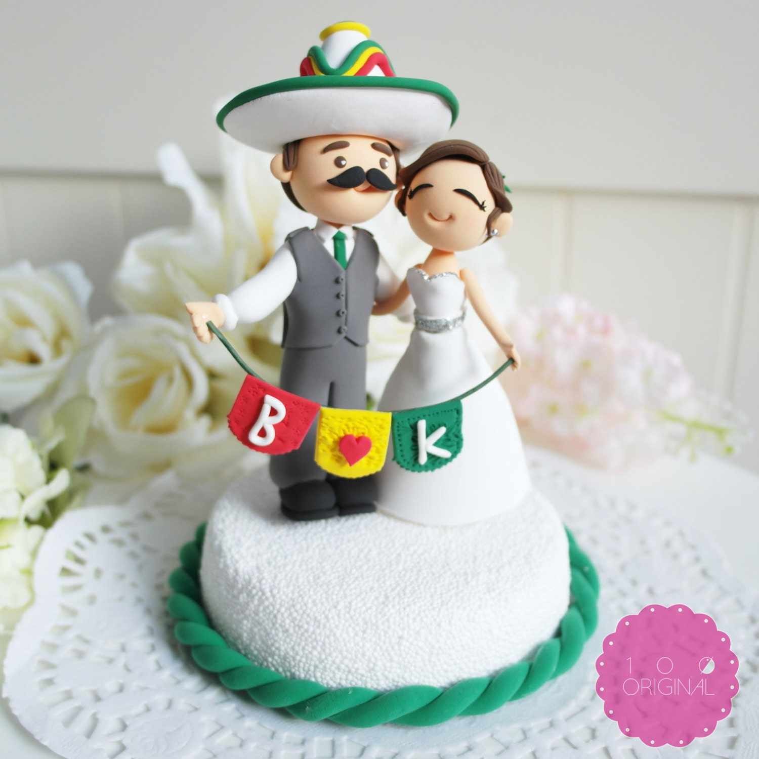 Custom Cake Topper Mexican Fiesta Theme Couple