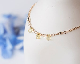 Yellow Sapphire Necklace, Delicate Gold Necklace, Dainty Sapphire Gold Necklace, September Birthstone Jewelry Gift For Her, Motherday