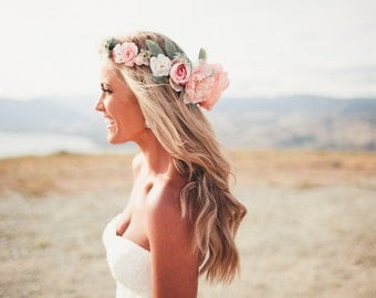 The Everly Flower Crown-Created with Blush, Peach, White and Ivory Blossoms