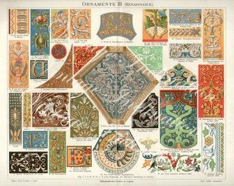 Antique Vintage 1894 Antiquity Ornamental Renaissance LARGE Design Chromolithograph, Fabrics 1800s art German color lithograph