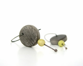 Grey and yellow - green modern clay hoop earrings, air dry clay, disc round, faux cement, texture, sterling silver, organic, minimal, rustic
