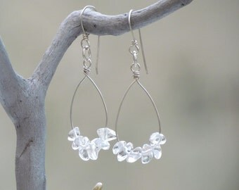 Crystal Quartz Earrings. Beaded Teardrop Sterling Silver Dangle Hoop. Rock Quartz Earrings. Simple Boho Everyday Earrings. Holiday Gift