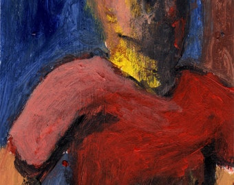 Original Painting - 'Waiting in a Red Shirt' by Peter Mack