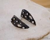 Stud Earrings Sterling Silver -  Oxidized Silver - Large Triangle - Modern Contemporary Earring, Metalwork Art Jewelrys