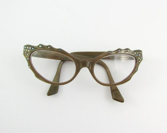 Vintage 1950s Cat Eye Glasses w/ Rhinestone Crystals - France