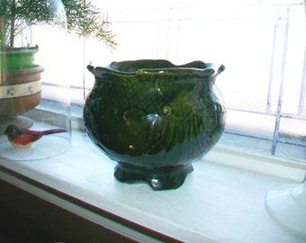 Green Jardiniere Large Planter Large Flower Pot Antique Stoneware
