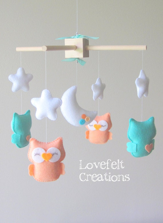 Baby Mobile - Owl mobile - Mint coral mobile