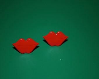 Red Lip Studs -- Earrings, Red Kissy Lip Earrings, Kiss Studs