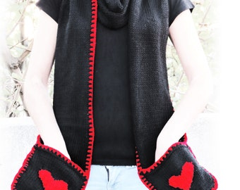 Valenitnes Day Scarf, Red Heart Scarf with Pockets - SCARVES - Heart Accessories - Girly Scarfs, Knitted Pockets Scarf for Her, Valentine
