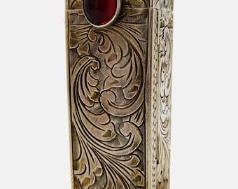 Vintage Italian Engraved 800 Silver & Garnet Glass Lipstick Holder with Mirror