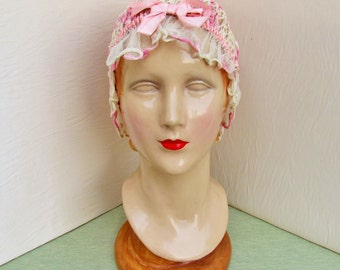 Vintage boudoir cap, 1920's crocheted pink & cream lace cap with silk ribbon in beautiful condition