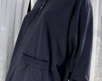 SALE-Vintage 80's women's Lauren Alexander LS navy cotton knit top  Large