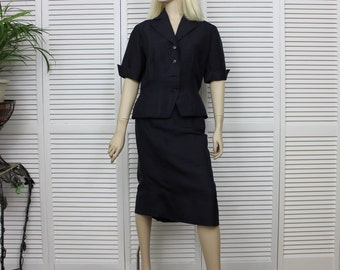 Vintage 1950s Suit Raw Silk Navy Blue Size 14 Tailored