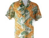 70s Hawaiian Shirt, Waikiki Holiday. Beach, Orange, Greeen, Luau, Novelty Print