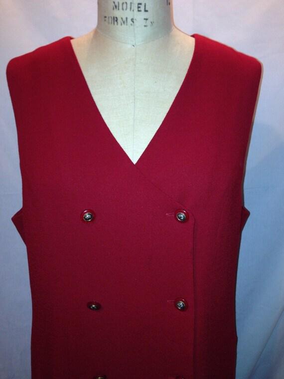 Vintage 70s Alfred Dunner Short Sleeve Red Dress Size 14 Sale d53