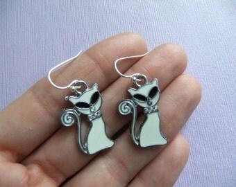 White Cat Earrings with Rhinestones, White Cat Jewelry