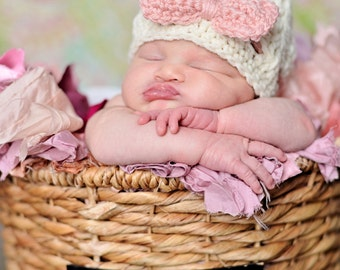 Newborn baby girl hat, newborn girl clothes, baby girl coming home outfit, ecru, pink, baby girl bow beanie, newborn girl photo prop