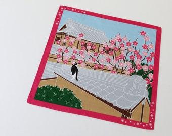 Japanese fabric furoshiki cotton towel, wrapping cloth cat fabric, kawaii fabric, japanese yukata, kimono fabric, japanese tenugui
