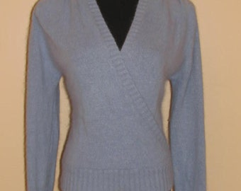 SO SUPER SOFT Sweater // Vintage 80's Stone Canyon Wrap Sweater V Neck Size L 70's Blue Silk Angora Lambswool Fall Winter Preppy