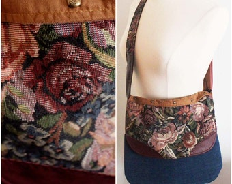 Floral Tapestry Crossbody Messenger Bag Ecofriendly Upcycled Denim Leather Suede Studded Handmade Unique